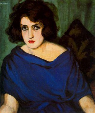 Portrait de jeune femme en bleu 1920 Tamara de Lempicka